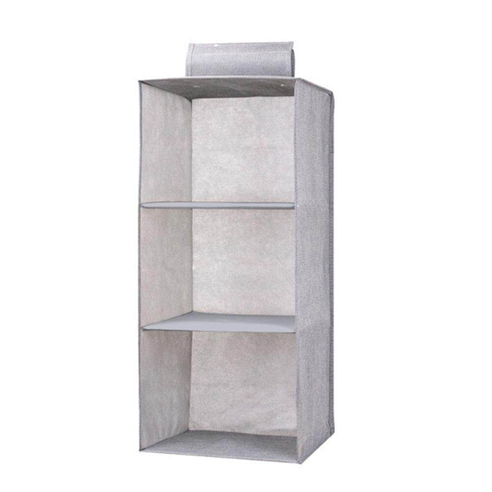 5/4/3 Layers Organizer Drawer Type Shelves Hanging Wardrobe Shoe Garment Organiser Storage Clothes Laundry Basket Cosmetics Storage Box Three-layer gray