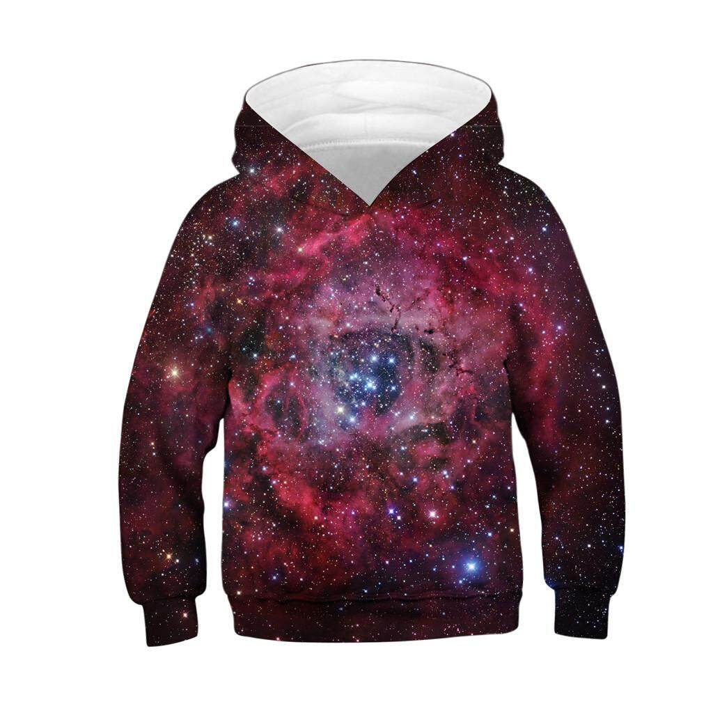 La-Spiderman Store Teen Kids Girl Boy Galaxy Fleece Print Cartoon Sweatshirt Pocket Pullover Hoodie By La-Spiderman Store.