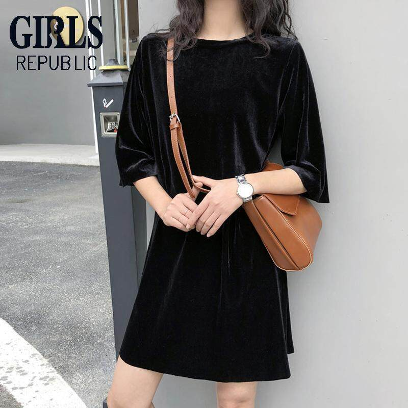ca2d91aac60 Girls Republic lowest price Korean version of the gold velvet loose thin  round neck short-