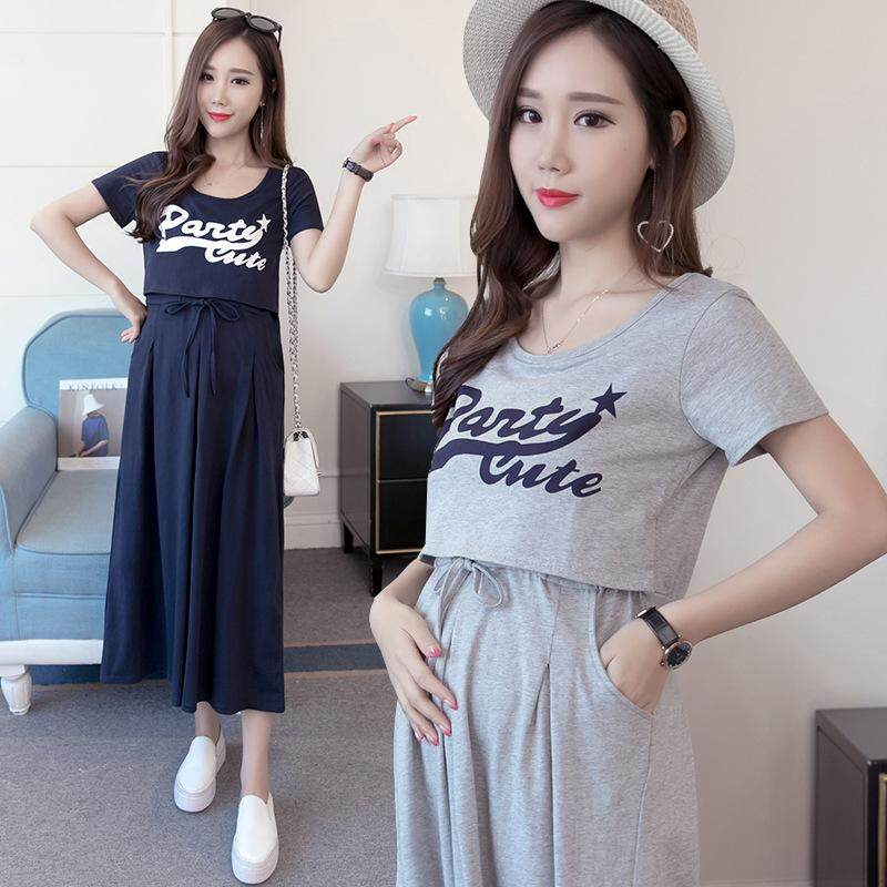 Women Cotton Maternity Dress Pregnancy Breastfeeding Postpartum Dress Solid Color Short-Sleeved Dress By Ycitshop.