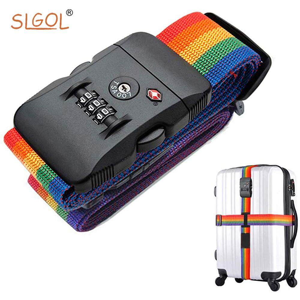Luggage Straps, SLGOL Elastic Adjustable Suitcase Belts, Non-slip Travel Bag Accessories for Baggage Security with Customs lock, Suitable for Suitcases Within 32 Inches image