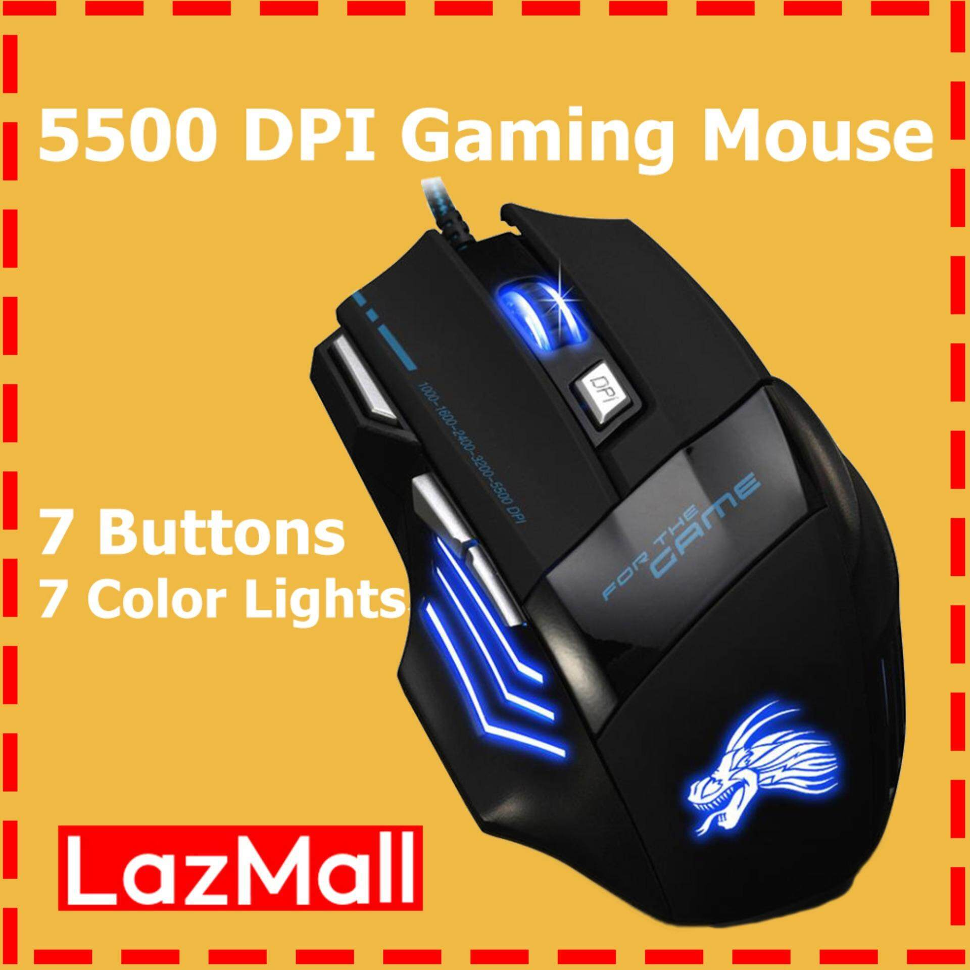 [Vktech] 5500DPI LED Optical USB Wired Gaming Mouse 7 Buttons Gamer Computer Mice Malaysia