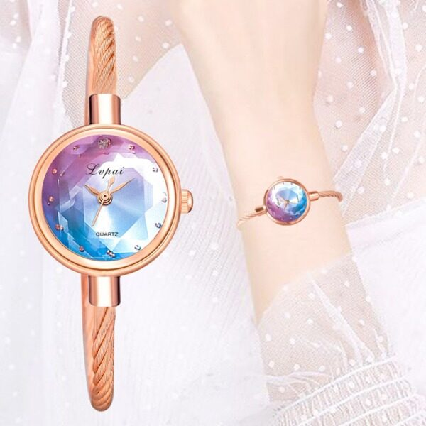 Kegllect Casual Iridescent Women Watches Luxury Alloy Diamond Quartz Wristwatches Fashion Stainless Steel Rose Gold Ladies Watch Gifts Malaysia