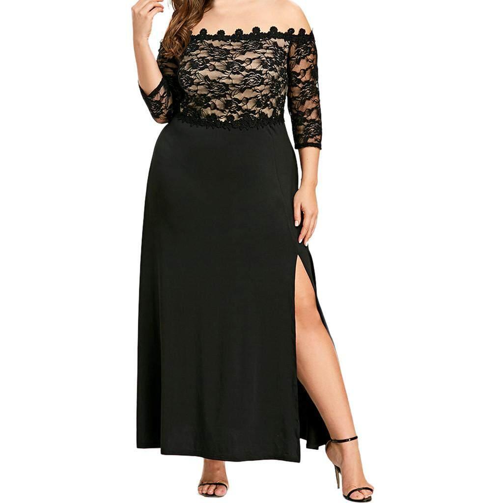 6f73a0a962d beautier Women Plus Size Sexy Slash-Neck Lace Half Sleeve Evening Party  Prom Long Dress