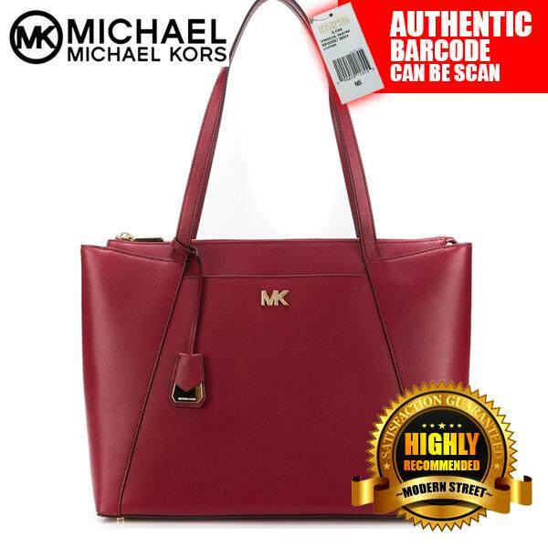 c8fb0605d2da [NWT] Michael Kors 30S8GN2T2L Maddie Medium Crossgrain Leather Tote (Red)
