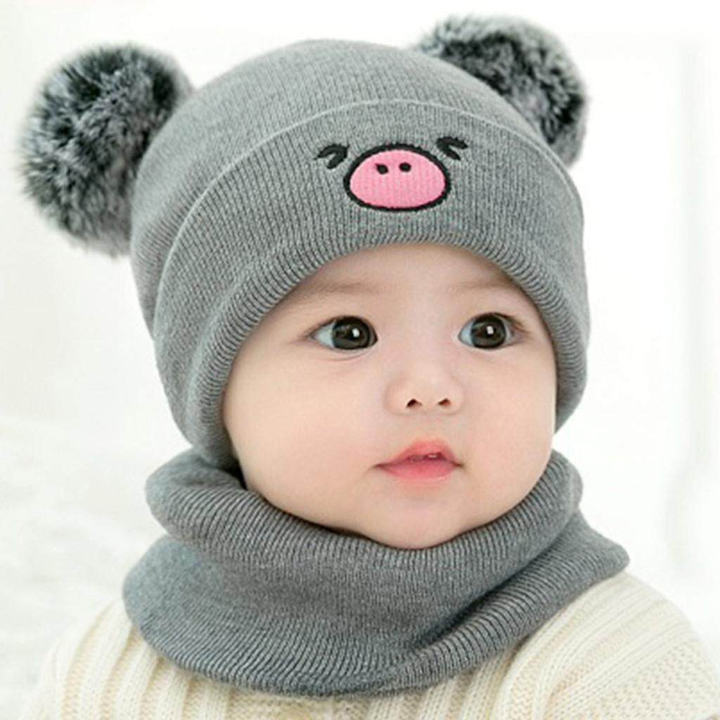 Baby Cartoon Bear Boy Girl Knitted Children Lovely Soft Hat+Scarf Two Piece Set