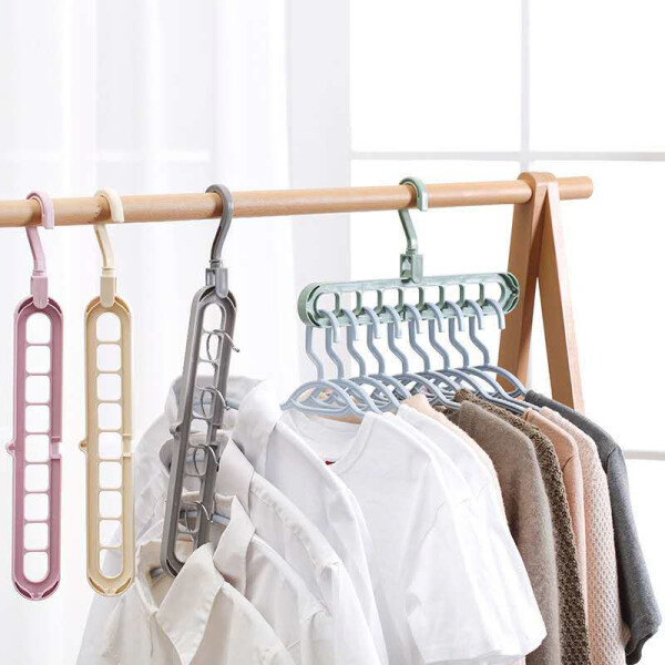 Multi-functional Magic Hanger 9 Hole Folding Hanger LAZ DIY Multi-Function Magic Hanger, Folding Non-Slip 9 Holes Household Wardrobe Storage Space Clothes Hanging Clothes Hanger Hook