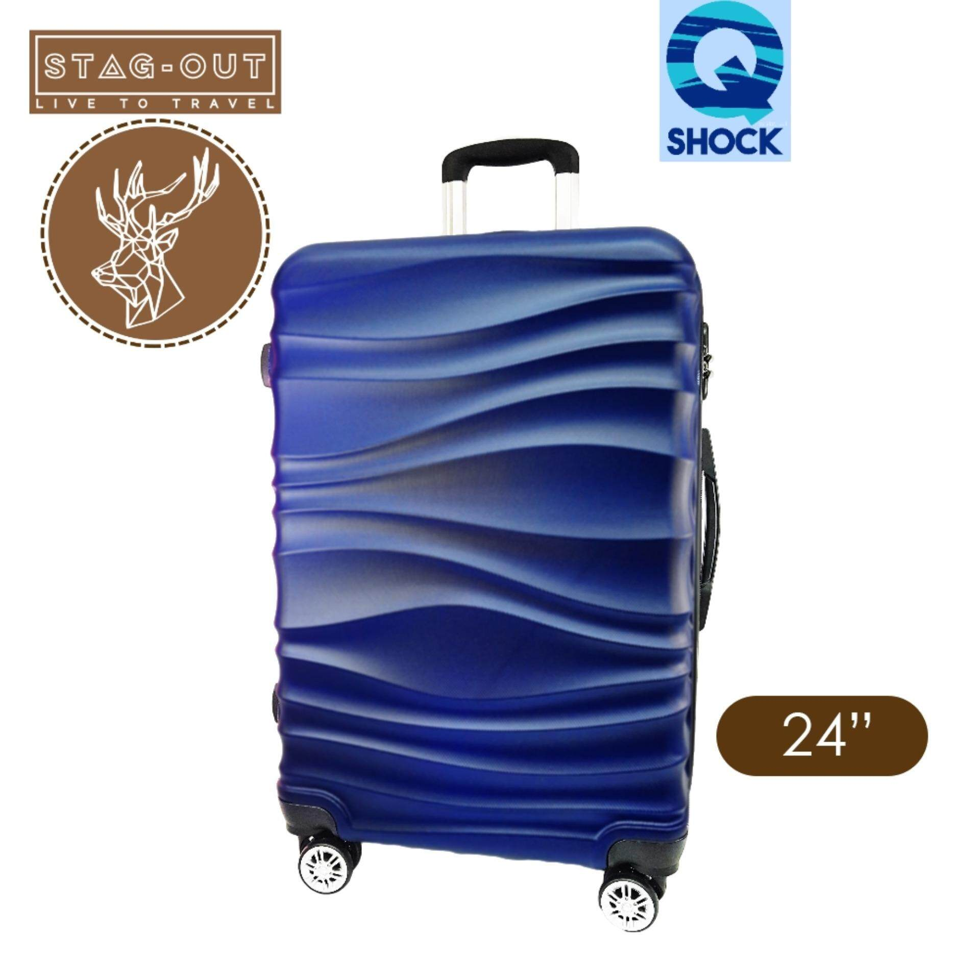 [stag-Out] Q-Shock 24lighweight Premium Abs Hardcase Travel Check-In Luggage Bag Suitcase (navy Blue) By Kingsman Online Store.