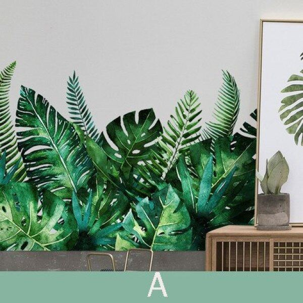 Green Plant Wall Stickers for Living Room Bedroom Balcony Door Decal Waterproof Adhesive 3D Window Stickers Skirting Wall Paper