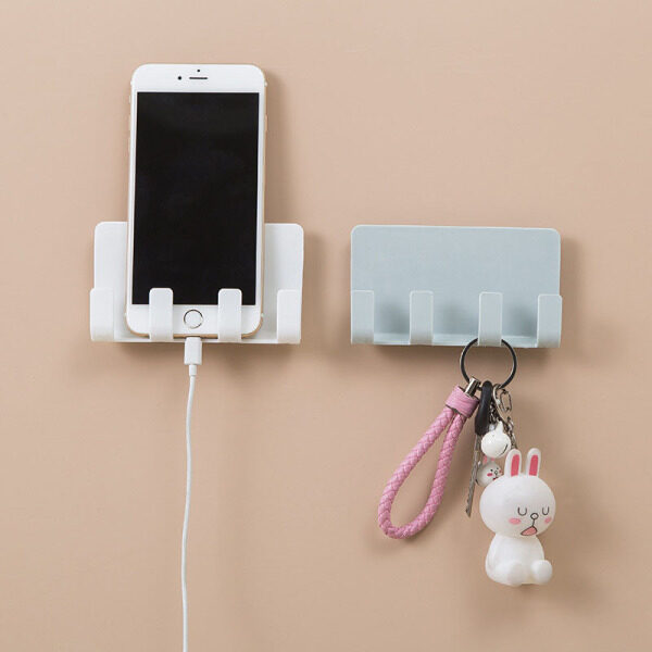 Phone Charger Holder Rack with 4 Hooks Hanging Cellphone Tablet Charging Stand Bracket No-Mounted