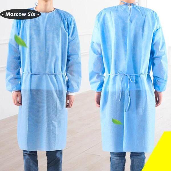 [Ready stock]10pcs/set Disposable Coverall Safety Boleh Guna Hooded Jumpsuit Coveralls Gaun Pembedahan Unisex Pakaian Pengasingan Suit Protective Clothing