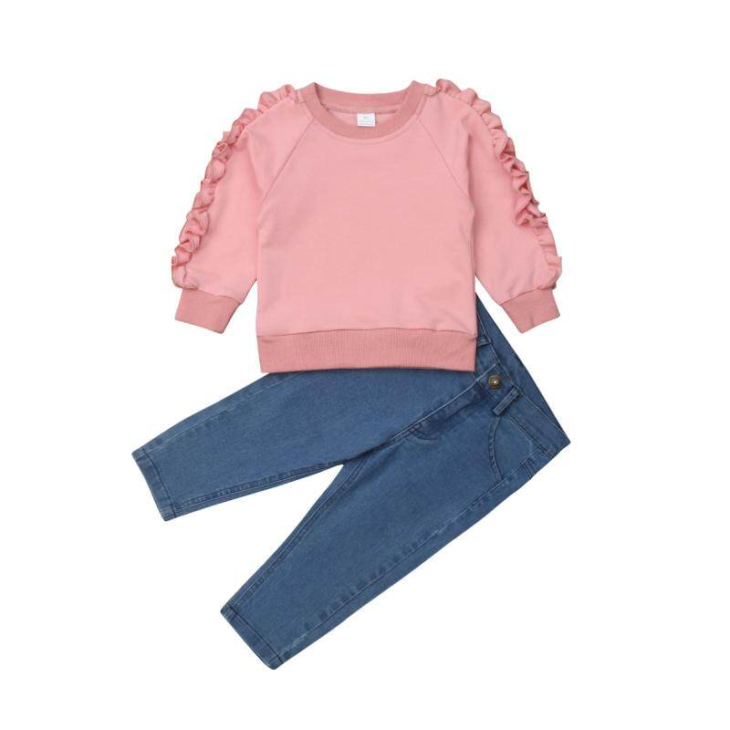 2pcs Fashion lovely Kids Baby Girls Toddler tops Denim pants Clothes Outfits