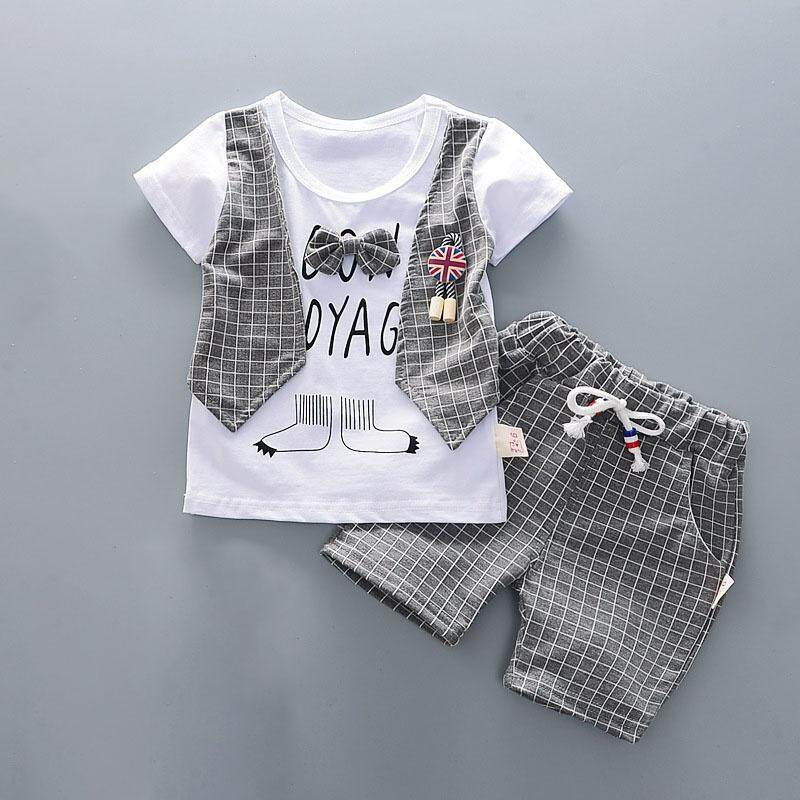 cc479de9cedc9 Toddler Baby Boys Short Sleeve Plaid Print T-Shirt Tops+Short Denim Pants  Kids Casual Outfits Clothes Sets