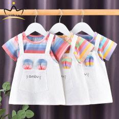 I Love Daddy & Mummy Đầm Bé Gái Sọc Cotton, Quần Áo Trẻ Em Cầu Vồng Mùa Hè Váy Ngắn Tay Cho Trẻ Sơ Sinh Trẻ Mới Biết Đi
