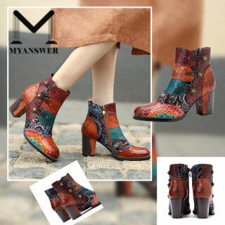 MyAnswer Bốt Cổ Chân Giày Nữ Bốt Ngắn Nối In Họa Tiết Bốt Mùa Đông Và Mùa Thu thumbnail