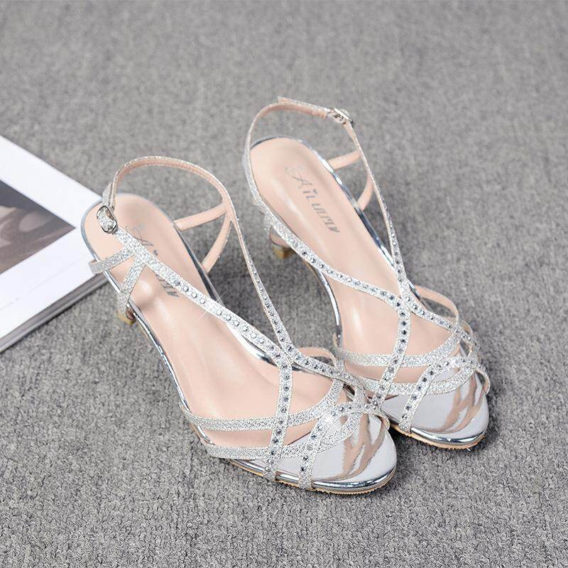 48a983f201a4 Womens Casual Open Toe Kitten Heel Sandals Summer Strappy Gladiator Sandals  Hollow Out Rhinestone Glitter Slingback