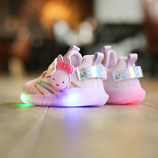 Giá bán Đèn LED Dệt Hoạt Hình Bbabyme Cho Bé Gái Giày Thể Thao Đi Chơi Thoáng Khí Chống Trượt