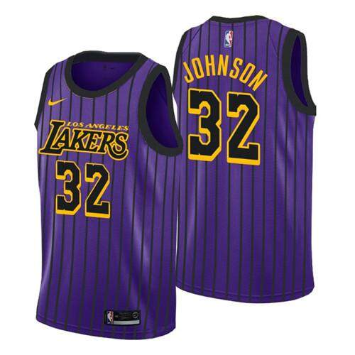 Nike Official Men Los Angeles Lakers Magic Johnson 32 Nike Purple 2018/19 Swingman Basketball Jersey - City Edition By Saljqfue.