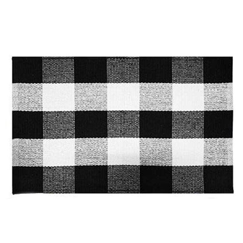 Cotton Buffalo Plaid Rugs,Buffalo Check Rug,23.6Inch x35.4Inch,Checkered Outdoor Rug,Outdoor Plaid Doormat For Kitchen/Bathroom/Laundry Room/Bedroom (Black And White Porch Rugs)