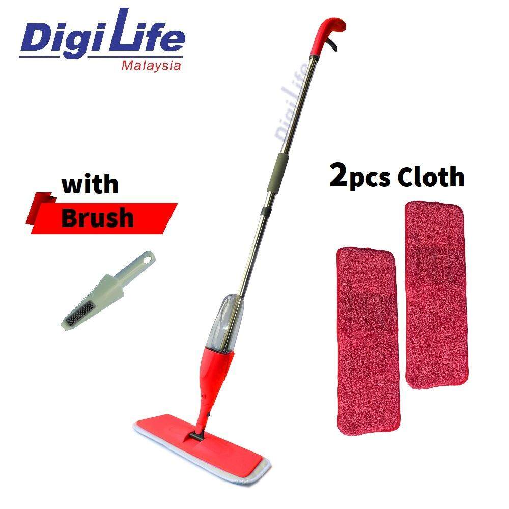 DIGILIFE Easy Spray Mop with 2 Microfiber refill Pads and Brush RED Floor Cleaning