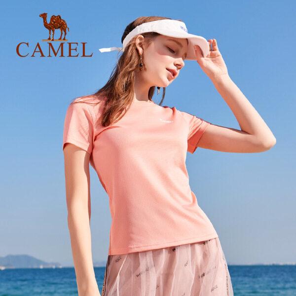 Camel Áo phông thể thao cho nữ, ngắn tay, chất vải thoáng mát, thấm mồ hôi, phong cách mùa hè - INTL