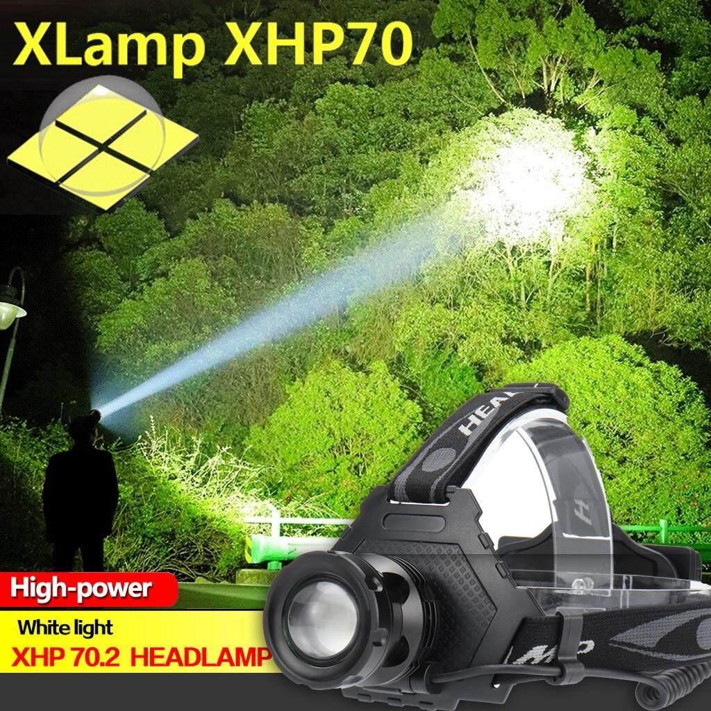 (SAD) XHP70 ไฟฉายคาดศีรษะ LED ไฟหน้า Reachargable ไฟฉาย 18650 LIGHT