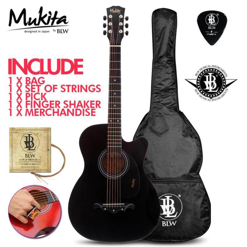 Mukita by BLW Standard Acoustic Folk Cutaway Basic Guitar Package 38 Inch for beginners with Bag, Pick, Finger Shaker and Merchandise Sticker (Black) Malaysia