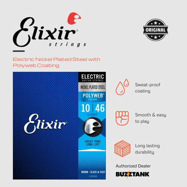 Elixir Strings Polyweb Electric Guitar Strings .010-.046 Light (12050) Malaysia