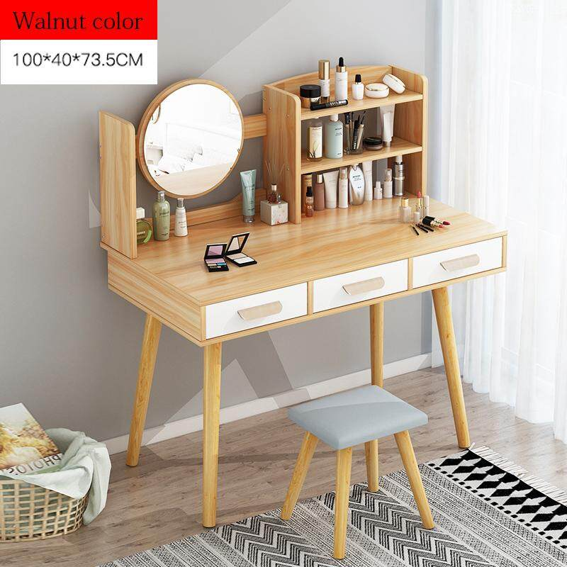 100x40x73.5cm, Dressing Table Solid Wood European Bedroom Dressing Table with Stool, HD Mirror, 3 Drawers, 3 Layers Shelves, Princess Makeup Cabinet Luxury Small Dresser