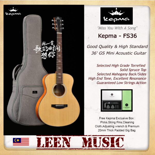 Kepma FS36 - 36 inch Mini Travel size Torrefied Solid Spruce Top Accoustic Guitar High Quality and Excellent Resonance Free Kepma 20mm Thick Padded Bag and Accesorries Malaysia
