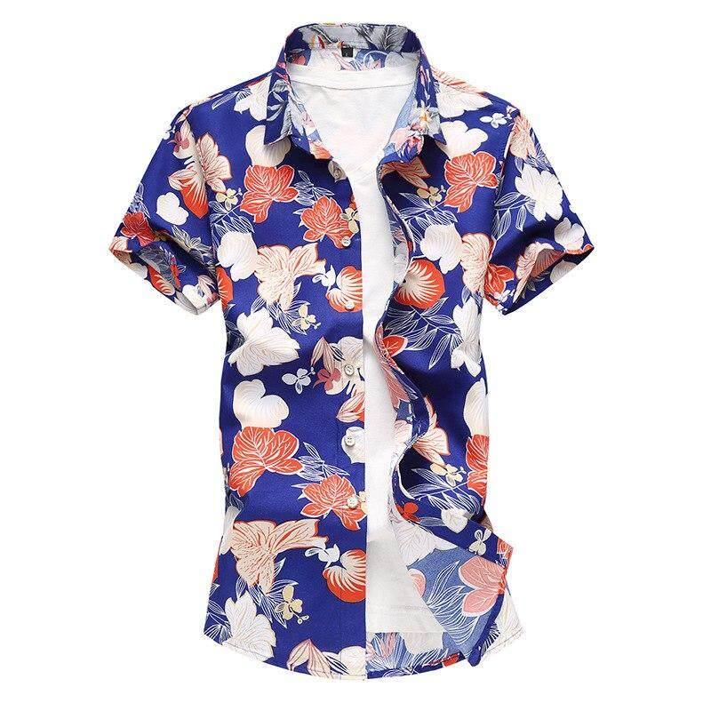 42cd7c75c69c6 M-7XL Plus Size Flower Print Casual Shirt For Men Short Sleeve Thin Cotton  Slim
