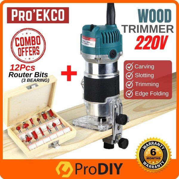 COMBO ProEkco GMR11 220V Electric Hand Wood Trimmer Router + 12 / 6 pcs Router Bit Carving Slotting Woodworking Power Tools Pemotong Kayu