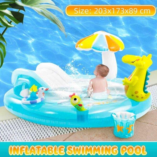Kids Inflatable Bath Tub Crocodile Park Fountain Baby Marine Ball Pool Children Portable Swimming Pool Home Garden Paddling Pool