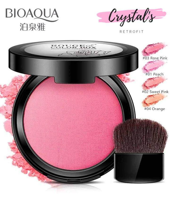 Bioaqua Rouge Color Box Cheek Blush [4 Color To Choose] By Crystals Retrofit.