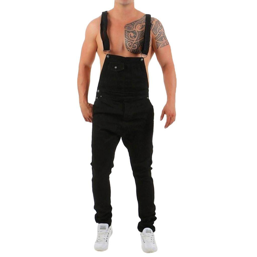 086d3b15a935 Men s Overall Casual Jumpsuit Jeans Wash Broken Pocket Trousers Suspender  Pants MML
