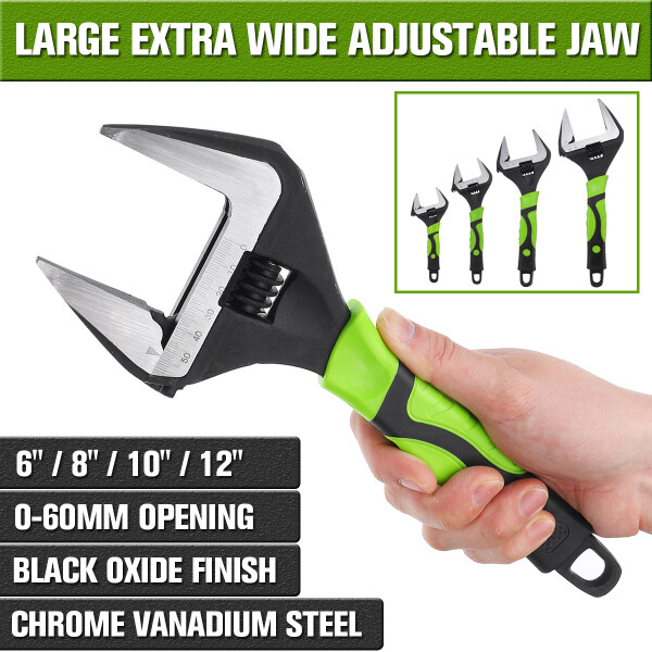 6~12  Spanner Wrench Large Extra Wide Jaw Adjustable Spanner Wrench 60mm Capacity Nut Pipe Tool