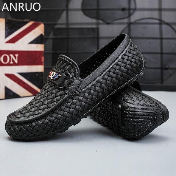 Cỡ Lớn Cho Nam Giày Da ANRUO Cho Ống Ngắn, Giày Đậu Hà Lan Chống Nước, Chống Trơn Trượt, Cổ Thấp giá rẻ