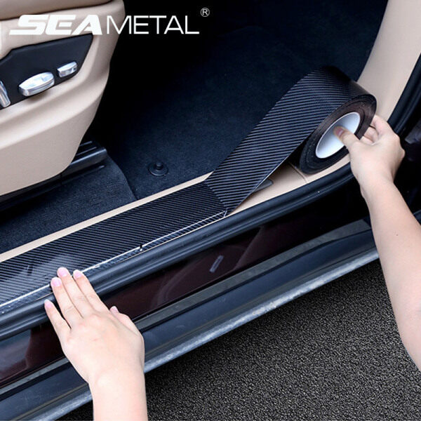 Miếng dán bảo vệ bệ bước chân xe ô tô bằng sợi carbon bóng chất lượng cao chống trầy xước - INTL