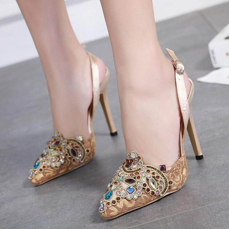 24d6a697541f Sweeet Women s High Heel Pumps Rhinestone Wedding Shoes Slip-on High Heels  Beautiful Dress Shoes
