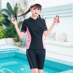 Conserved Female Zipper Swimwear Women Two Piece Swimsuits Short Sleeve Tops + Long Shorts Bathing Suits Lady 3 Colors Swimming Suits Beach Wear