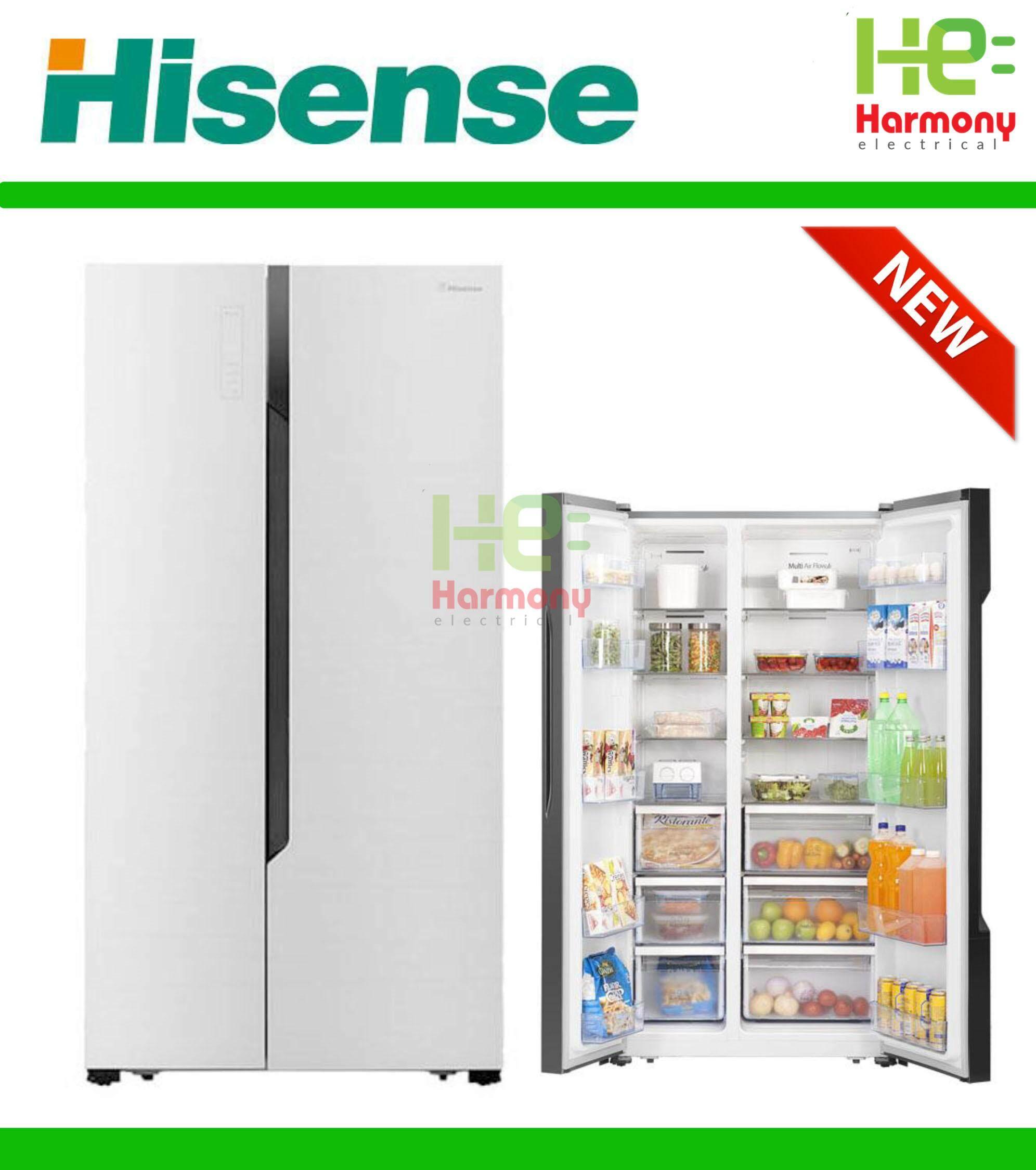 New : Hisense Nett 636L Side By Side Fridge White Glass Door RS826N4AWU +  Free Gift