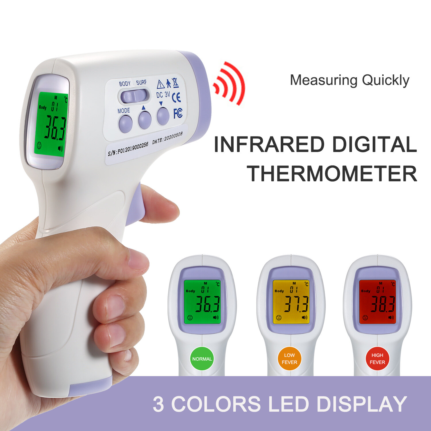 Digital Forehead Thermometer Infrared Baby Thermometer Non-Contact Body Temperature Gauge High Sensitivity Temperature For Baby With Fever Alarm.