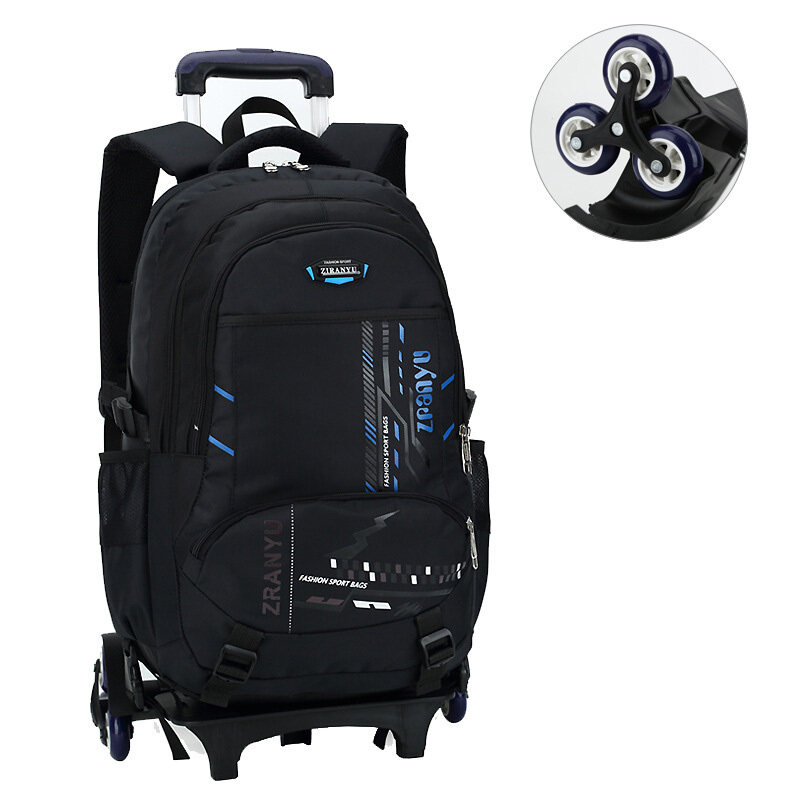 Reduce Burden  Protecting Spine Three-wheels Middle School Students Schoolbags Grades 3-6
