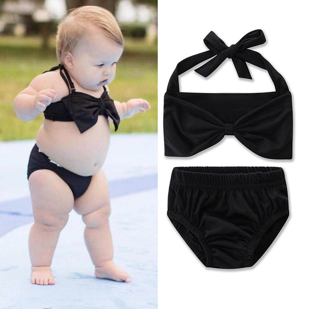 Haomian Hkhk New Fashion Baby Childrens Girls Solid Swimsuit Swimwear Bathing Suit Bikini Set Clothes By Haomian Hkhk.