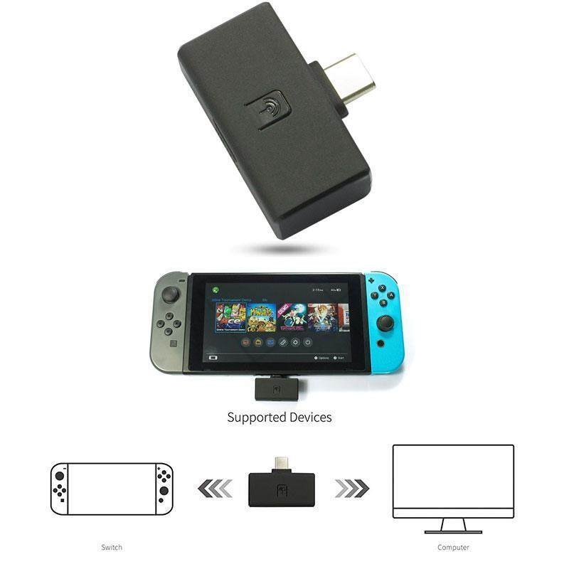 niceEshop Portable BT Audio USB Receiver, SWITCH/PS4/PC 3-in-1 Audio USB Type-C Adapter Receiver Singapore