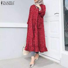 ZANZEA Muslimahผู้หญิงมุสลิมVintageแขนยาวลายดอกไม้เสื้อยืดคอกลมRuffles Frillเสื้อแม๊กซี่เชิ้ต