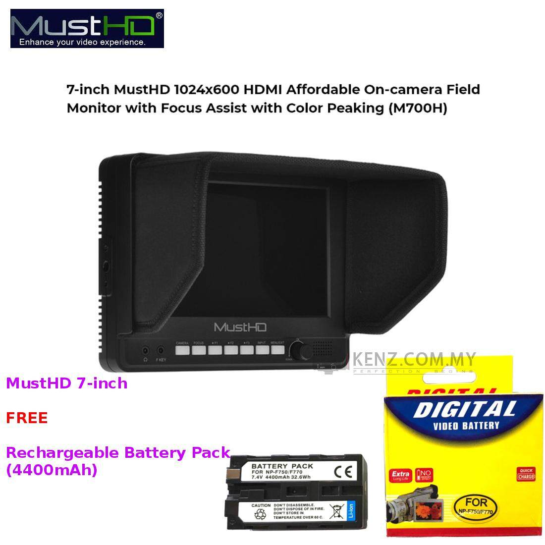 MUSTHD 7 ON CAMERA FIELD MONITOR Color Peaking (RGB) 1024 x 600 HDMI Input & Output [FREE F750/F770 Battery Pack] Malaysia