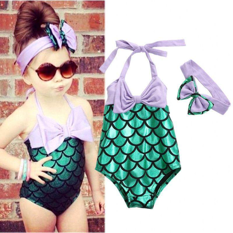 d98c022f0b 2-7Year's Children Mermaid Swimsuit New Fashion Kids Girl One-piece Swimwear +Headbad
