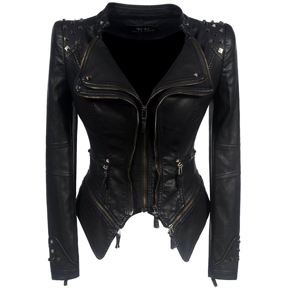 a3b7fa74e2 2019 Coat HOT Women Winter Autumn Black Fashion Motorcycle Jacket Outerwear  faux leather PU Jacket Gothic