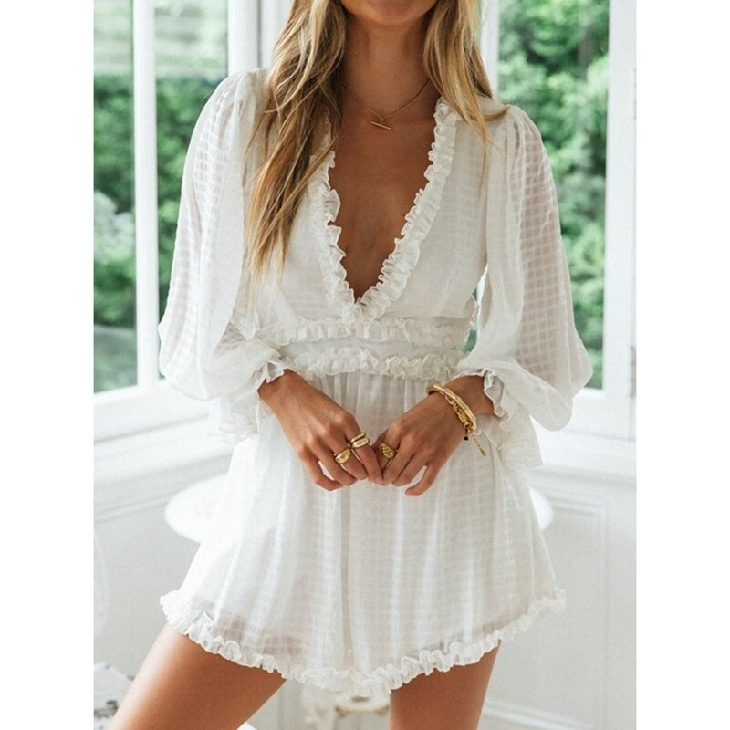 Womens Sexy V Neck Backless Jumpsuit Lantern Long Sleeve Casual Loose Shorts White Rompers